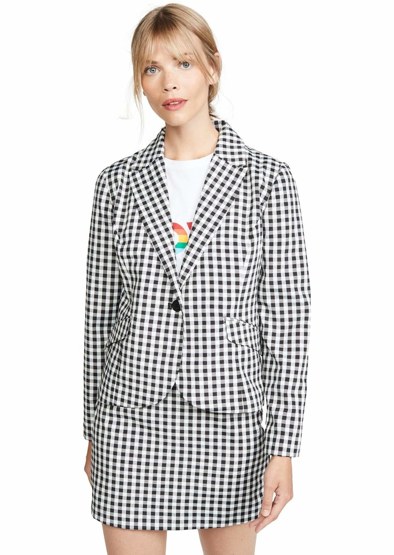BB Dakota Women's Gingham Style Fitted Blazer black medium
