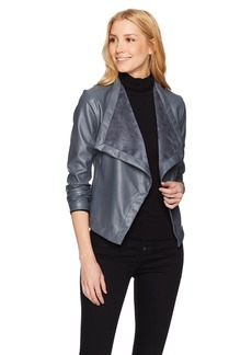 BB Dakota Women's Gracelyn Drape Front Vegan Leather Jacket