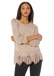 BB Dakota Womens Hang Loose Marled Yarn Sweater with Fringe pink lemonade medium
