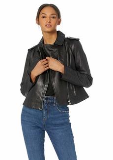 BB Dakota Womens Hello Moto Washed Leather Jacket black large