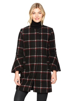 BB Dakota Women's Hewes Plaid Coat With Bell Sleeves