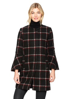 BB Dakota Women's Hewes Plaid Coat with Bell Sleeves