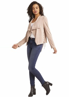 BB Dakota womens in great drape Faux Suede Jacket with Laced Sides birch medium