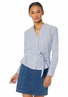 BB Dakota Womens It's Business Yarn Dyed Stripe tie Waist Shirt  small