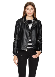 BB Dakota Women's Jerilyn Studded Pu Leather Moto Jacket