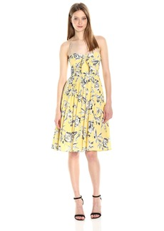 BB Dakota Women's Joss Crepe Lily Floral Printed Midi Dress