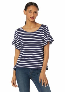 BB Dakota Womens just Havin' Fun Stripe French Terry Ruffle Sleeve top navy small