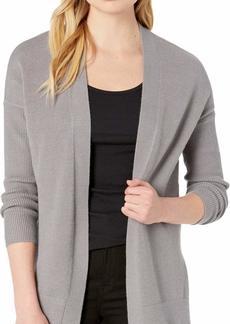 BB Dakota womens just so Cozy Cardigan with Ribbed Sleeve medium grey