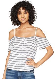 BB Dakota Women's Kaegan Striped Cold Shoulder Knit Top  Extra Small