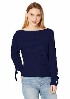 BB Dakota Womens lace up Sweetie Horizontal Rib lace-up Sleeve Sweater vintage blue medium
