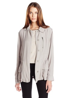BB Dakota Women's Lana Hammered Crepe Army Jacket