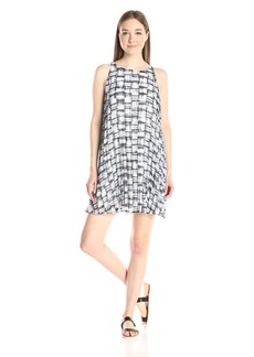 BB Dakota Women's Leah Plaid Printed Chiffon Pleated Dress