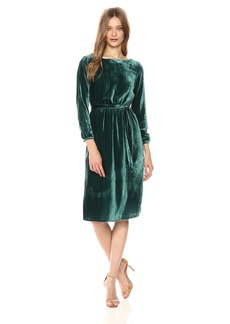 BB Dakota Women's Lennox Crinkle Velvet Fit N Flare Belted Dress