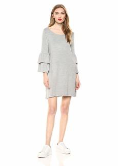 BB Dakota womens Lost in The Song Ruffle Sleeve Dress light heather grey extra large