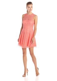 BB Dakota Women's Lotte Scallop Lace Sleeveless Fit and Flare Dress