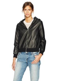 BB Dakota Women's Lucca Hooded Vegan Leather Bomber Jacket