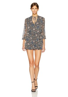 BB Dakota Women's Lucy Printed Long Sleeve Romper