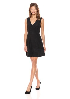 BB Dakota Women's Lynne Faux Suede Fit and Flare Dress with Embroidery