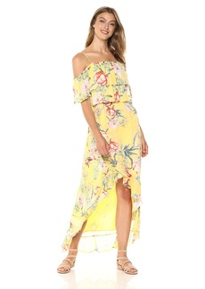 BB Dakota Women's Madison Off The Shoulder Print Ruffle Dress