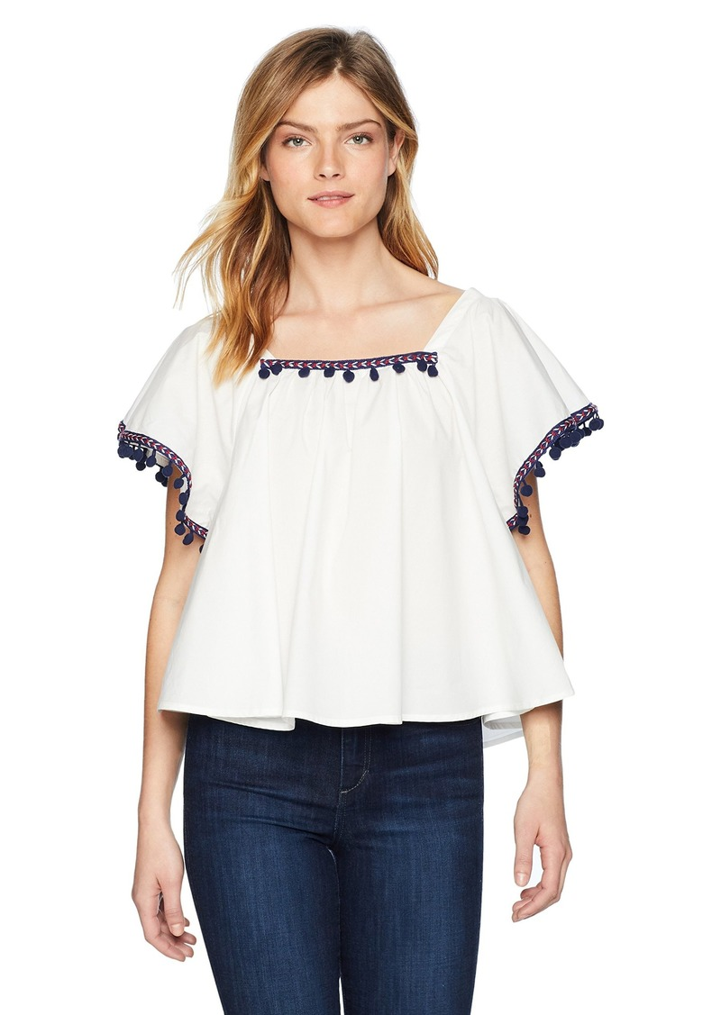 BB Dakota Women's Makari Flutter Sleeve Top Pom Detail