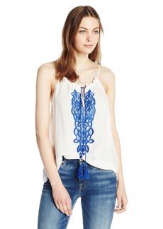 BB Dakota Women's Mardi Embroidered Sleeveless Top with Tassels