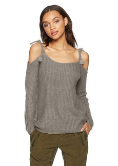 BB Dakota Women's Mellie Tie Cold Shoulder Ribbed Sweater