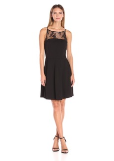 BB Dakota Women's Milford Lace Trim Fit N Flare Dress  Medium