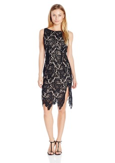 BB Dakota Women's Petite Brinstow Midi Lace Dress with Contrast Lining