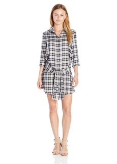 BB Dakota Women's Claremont Plaid Tencel Tie Front Shirt Dress