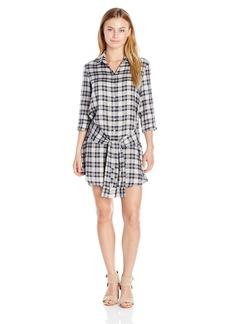 BB Dakota Women's Petite Claremont Plaid Tencel Tie Front Shirt Dress
