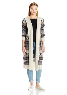 BB Dakota Women's Winthrop Hooded Pattern Sweater Cardigan