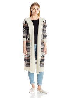 BB Dakota Women's Winthrop Hooded Pattern Sweater Cardigan
