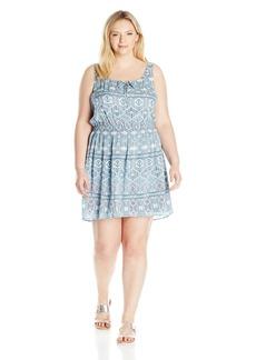 BB Dakota Women's Plus Size Baxter Moroccan Tile Printed Cotton Gauze/Voile Dress  1X