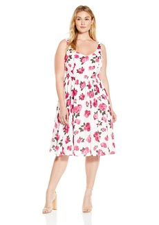 BB Dakota Women's Plus Size Clarabelle Large Floral Printed Reverse Crepon Dress  2X