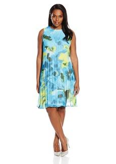 BB Dakota Women's Plus Size Divina Large Floral Maui Printed Chiffon Pleated Dress  1X