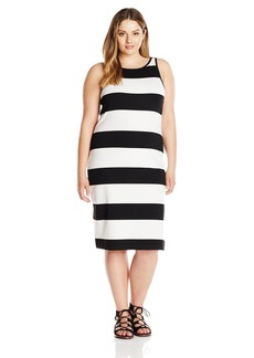 BB Dakota Women's Plus Size Jamal Striped Ponte Midi Dress  1X