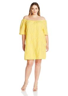 BB Dakota Women's Plus Size Kuranda Floral Gauze Off-the-Shoulder Dress  3X