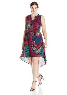 BB Dakota Women's Plus-Size Riana Printed Hi Lo Dress  1X