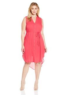 BB Dakota Women's Plus Size Viri Crinkle Viscose Button Front Dress  1X