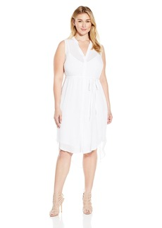 BB Dakota Women's Plus Size Viri Crinkle Viscose Button Front Dress  2X
