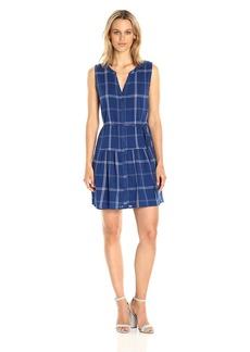BB Dakota Women's Presley Crinkle Plaid Dress With Tie