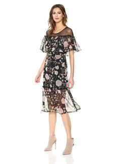 BB Dakota Women's Rella Printed Chiffon Ruffle Midi Dress