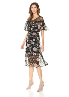 BB Dakota Women's Rella Printed Chiffon Ruffle Midi Dress