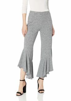 BB Dakota Women's Ruffle Play Crop Pant Space dye Grey