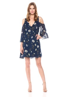 BB Dakota Women's Rylie Floral Print Cold Shoulder Dress