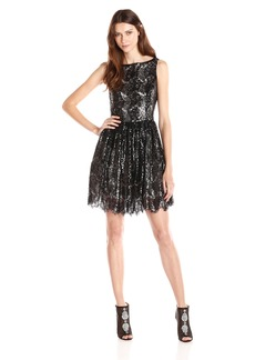 BB Dakota Women's Sabrina Sequin Lace Fit and Flare Dress