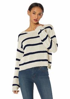 BB Dakota Womens sail Away Tape Yarn Striped Crop Sweater ivory small