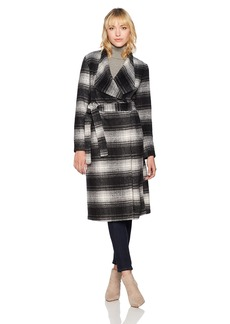 BB Dakota Women's Sison Drape Front Plaid Coat