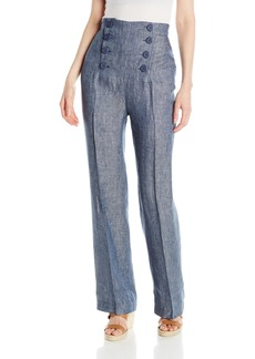 BB Dakota Women's Skye Linen High-Waisted Pant with Buttons