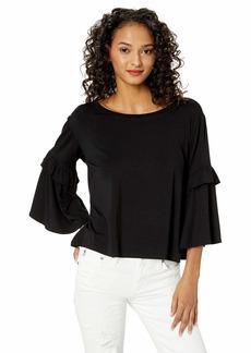 BB Dakota womens sleeve it to Fate Ruffle Bell Sleeve top black medium